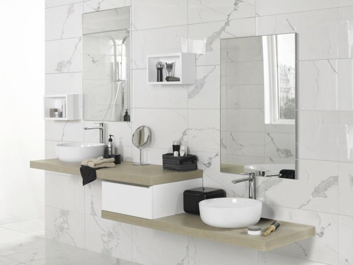 Étagère niche haute de salle de bain Extenso - blanc brillant - 350x216 mm  - P. 145 mm