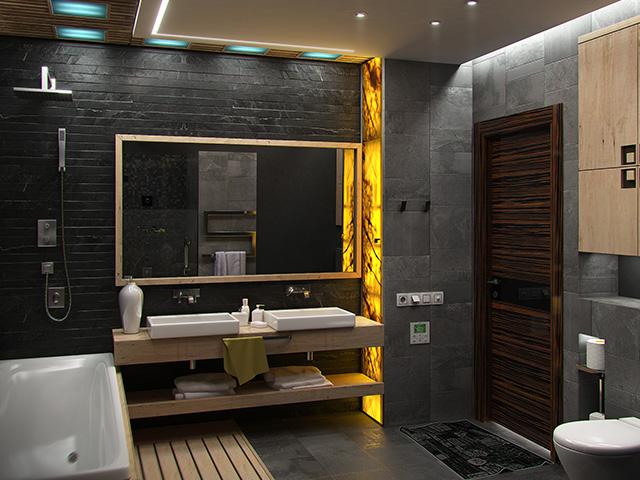 Salle de bain moderne avec du carrelage sur les murs