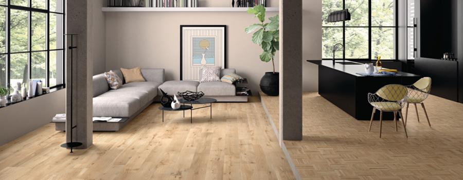 Salon style scandinave avec un carrelage effet bois