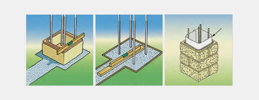 Pose des premiers éléments du pilier béton