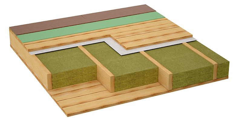 Renforcer l'isolation thermique d'un plancher en bois avec un isolant entre les solives.