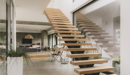 Escalier moderne bois et acier, sans rampe