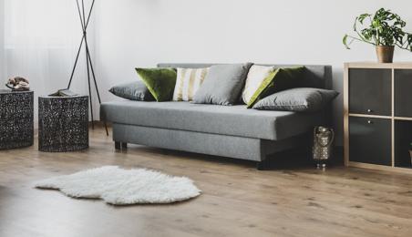 Salon classique avec parquet massif foncé et canapé gris