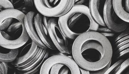 Rondelles en métal en gros plan