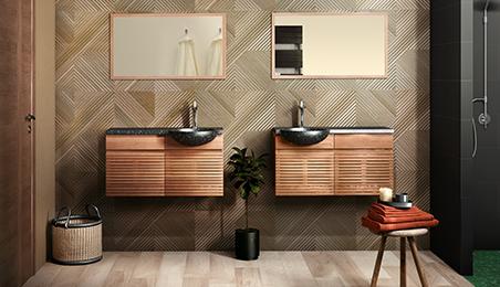 Carrelage mural de salle de bains beige texturé