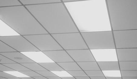 Dalles de plafond dans un bureau avec alternance de dalles et éclairages