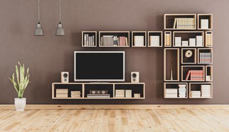 Etagères et meuble télé fixés sur des plaques de plâtre