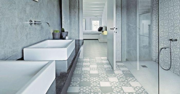 carreaux de ciment dans salle de bain