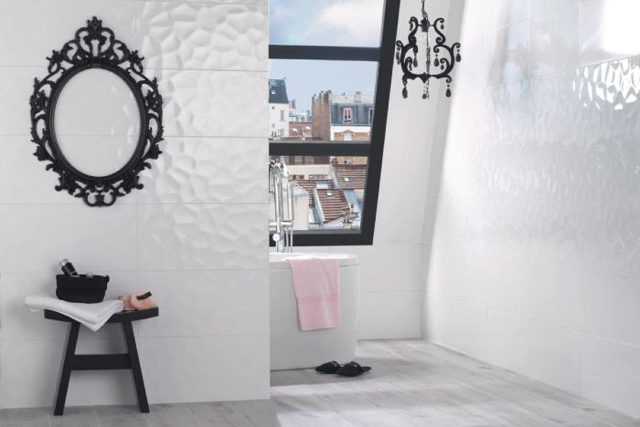 Un carrelage effet 3D dans une petite salle de bain déco retro