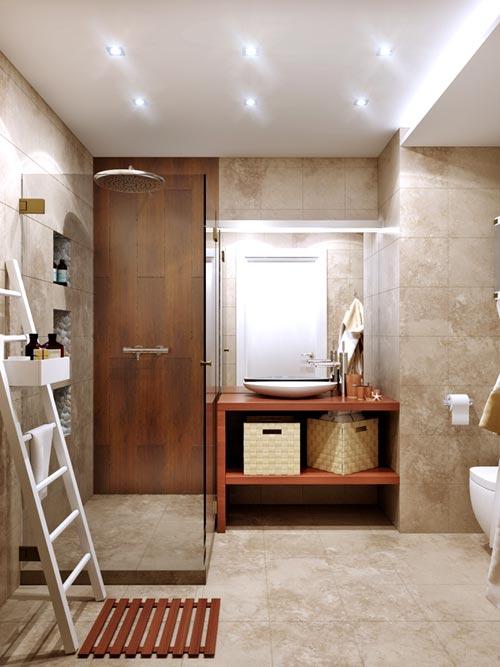 Exemple d'un carrelage en pierre de salle de bain (travertin)