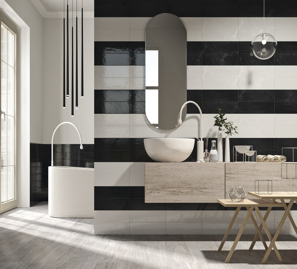 Frise Murale Damier Noir Et Blanc salle de bain / vintage   point.p